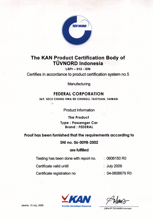 Federal Tyres Corporate Certificate Amp Awards